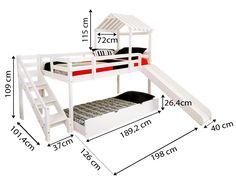 Cama com Escorregador Infantil c/ Telhado, Escada de Fácil Acesso e Gavetão/Cama auxiliar – Casatema - CasaTema