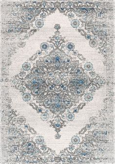 Rugs USA Light Blue Bosphorus Gothic Floral Medallion rug - Transitional Runner x Light Blue Area Rug, Blue Area Rugs, Carpet World, Machine Made Rugs, Transitional Rugs, Rugs Usa, Round Rugs, Vintage Rugs, Vintage Style
