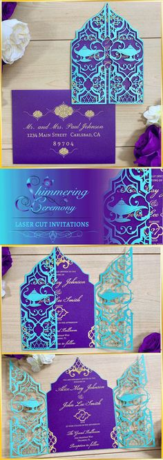 laser cut wedding invitations Im in love with our take on an Aladdin wedding invitation. The laser cut gatefold is is beautifully detailed with Arabian scrolls and a few magic lamps. Laser Cut Invitation, Laser Cut Wedding Invitations, Elegant Invitations, Wedding Invitation Cards, Party Invitations, Disney Wedding Invitations, Invitations Online, Invitation Templates, Wedding Cards
