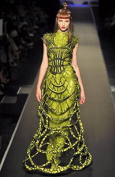Chanel Runway - lime  green art gown