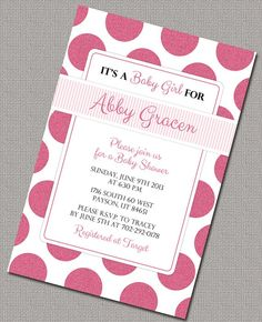 baby shower invitations | Raspberry Pink Sparkly Polkadot Girl Baby Shower Invitations # ...
