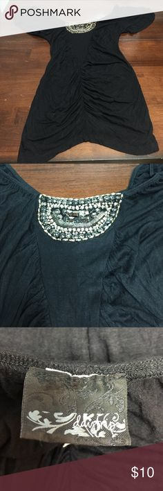 Black daytrip shirt XS black daytrip shirt with silver decorations on front and gathered down front Daytrip Tops
