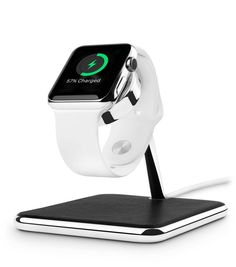 Forté for Apple Watch is a luxury stand and charging dock carefully designed to match the timeless beauty of Apple Watch, from shape and standards, to fit and finish. Forte elegantly displays your Watch atop the brilliant chrome stand while protecting your band with a buttery soft, top grain leather wrapped base. Forté works seamlessly with your Apple Watch Magnetic Charging Cable. The 40-degree angle of the Forté arm allows for easy bedside viewing in either Portrait or Nightstand mode…