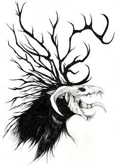 Wendigo print<br />Printed on glossy paper! Dark Creatures, Mythical Creatures Art, Mythological Creatures, Fantasy Creatures, Creepy Drawings, Dark Art Drawings, Monster Drawing, Monster Art, Arte Horror