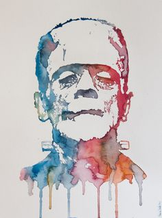 just got this, everyone needs a watercolor Frankenstein in their home. no? the artist also has edgar allan poe...
