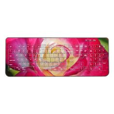 Pink and yellow rose wireless keyboard - cyo diy customize unique design gift idea