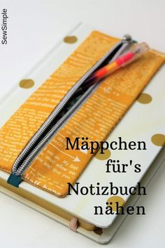Sweet and practical: sewing pencil case for notebook -Awesome DIY hacks are offered on our web pages.Pencil case to attach to book cover Sewing Hacks, Sewing Tutorials, Sewing Crafts, Sewing Tips, Sewing Ideas, Ideias Diy, Diy Couture, Leftover Fabric, Creation Couture