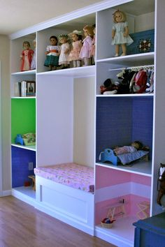 "This is really smart - and can be re-purposed for a girl who grows out of dolls. NOTE---there are some nice wood TV cabinets that end up in some resale shops (when owners switch to flat screen tvs...and maybe downsize). I've seen them. They could be ""repurposed"" for dolls, etc. too!"