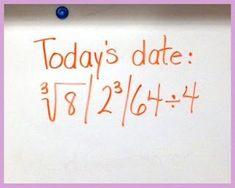 Fun with Math Dates - Encourage Extra Math Thinking - Cognitive Cardio Fun Math, Math Activities, Mathematical Expression, Math Bulletin Boards, Math Classroom, Classroom Ideas, Classroom Organization, Classroom Management, Math Notes