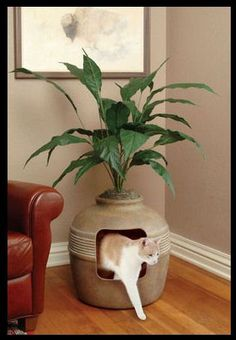 hidden cat litter box... dont have cats, im allergic but this seems like a good alternative to the others??? maybe???