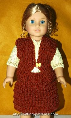 ABC Knitting Patterns - American Girl Doll Vest worsted yarn