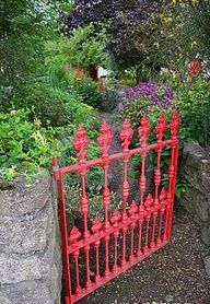 Red Wrought Iron Gate...
