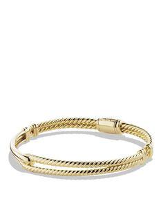 David Yurman Petite Pave Labyrinth Single-Loop Bracelet in Gold