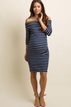 7f293ddc199 Navy Striped Foldover Off Shoulder Maternity Dress