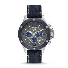 Wellworn Chronograph Denim Watch - Blue A gunmetal dial with blue accents complements a sleek, stainless steel case in this casual yet sophisticated Armani Exchange timepiece.