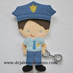 Police Man Outfit for paper dolls.  Picture only. Embroidery pattern that could be adapted to felt.