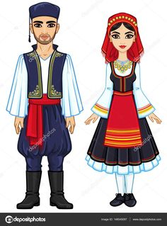 Animation portrait of a family in ancient Greek clothes. The vector illustration isolated on a white background. Fabric Doll Pattern, Fabric Dolls, Tree Illustration, Rose Wallpaper, Silhouette Art, Vintage Pictures, Stylish Dresses, Beautiful Paintings, Beautiful Women
