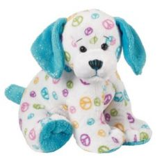 Webkinz Peace Puppy is an extremely rare Webkinz. This adorable puppy has sky blue ears and peace signs all over its white coat.