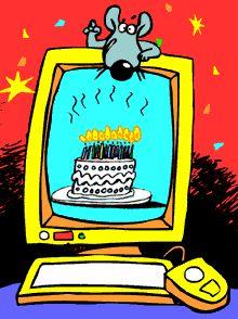 Computer Birthday Wish Cake Happy Icon Icons Emoticon Emoticons Animated Animation Animations Gif