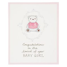 Buy Saffron Striped Teddy New Baby Girl Greeting Card Online at johnlewis.com