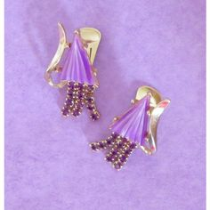 Purple Earrings, Vintage, Comets, Lucite Rhinestone Clip Earrings,... ($14) ❤ liked on Polyvore featuring jewelry and earrings