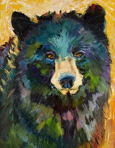 Looking for Huckleberries Bear by Diane whitehead Oil ~ 28 x 22 - Tragen Simple Oil Painting, Painting & Drawing, Watercolor Paintings, Illustrations, Illustration Art, Bear Paintings, Watercolor Projects, Bear Art, Watercolor Animals