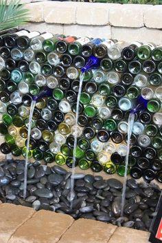 Garden Thyme with the Creative Gardener: Water Feature Ideas - wine bottle fountain wall Wine Bottle Fountain, Wine Bottle Wall, Wine Wall, Wine Bottle Crafts, Bottle Art, Wine Bottle Garden, Garden Fountains, Fountain Garden, Water Fountains