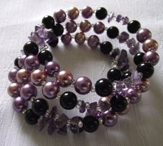 Custom order, Purple, pink and black renaissance beads- Memory wire Bracelet-purple gemstone cut beads-Crystal Beads-One size