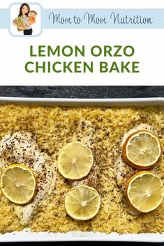 Lemon Orzo Chicken Bake is a one-dish meal full of bright lemon flavor and created with standard pantry staples you are sure to have on hand. Roasted Carrots, Roasted Chicken, Baked Chicken, Yummy Chicken Recipes, Healthy Dinner Recipes, Beef Recipes, Lemon Orzo, Lemon Pepper Seasoning, Greek Lemon Chicken