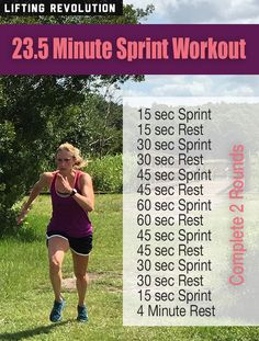 The Ultimate 23.5 Minute Fat Burning, Ab Sculpting Sprint Workout - Great for building speed, burning body fat and toning the legs and abs! #runningworkout #sprint More at LiftingRevolution.com