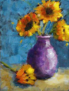 Sunflowers in Lavender - Original Fine Art for Sale - © Martha Lever