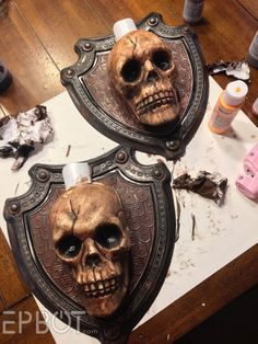 with more Dollar Store spookery! This time we're taking two plastic shields, skulls, and battery tealights. and turn.back with more Dollar Store spookery! This time we're taking two plastic shields, skulls, and battery tealights. and turn. Halloween Prop, Halloween Graveyard, Dollar Store Halloween, Halloween Party Supplies, Outdoor Halloween, Diy Halloween Decorations, Holidays Halloween, Halloween Crafts, Halloween Stuff
