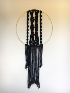 Beautiful twisting macrame with painted wooden beads, set in a brass ring. Wall Art Crafts, Diy Wall Art, Dream Wall, Macrame Patterns, Plant Holders, Wooden Beads, Make And Sell, Fall Crafts, Crafts To Sell