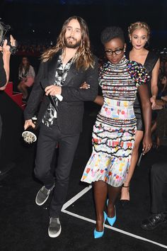 Jared Leto Contrasts Prints With Lupita Nyong'o