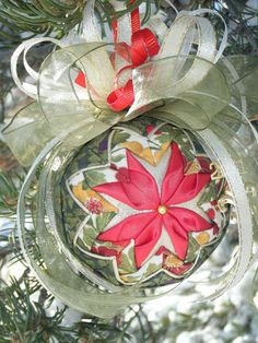 Quilted Flower Christmas Ornament PDF Pattern by SnowflakeDesignz