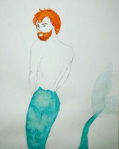 Ginger Mermaid watercolor painting art