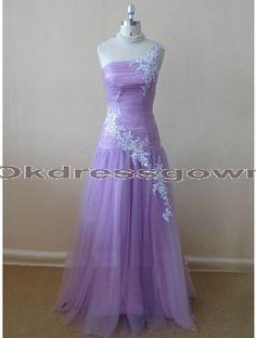 cheap purple one shoulder long lace prom dress