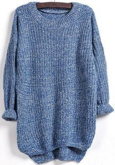 fall oversized sweater, dipped hem loose sweater - Crystalline