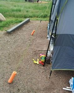 Great idea using pool noodles to mark tent ropes. Those ropes are nearly invisible even if paying attention. I think I'd paint them with glow-in-the-dark paint too.