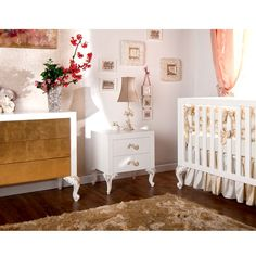 Florence Three Drawers Chest White with Gold Leaf