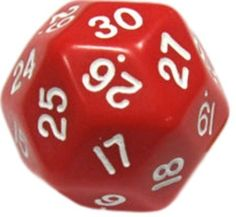 Custom & Unique {Huge XL Big Large Size 33mm} Single Ct Pack Set of 30 Sided [D30] Shape Playing & Game Dice Made of Plastic w/ Rounded Corner Edges w/ Classy Number Gloss Design [Bright Red & White]