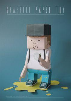 Graffiti Paper Toy by Elmar Janse, via Behance