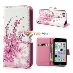 Pink Plum Magnetic Leather stand Case Cover for flip iPhone 5c  mobile phone cases bags coque for iphone 5 c 5c
