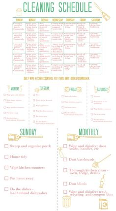 Printable Cleaning Schedule from Squirrelly Minds... because apparently I can't just DO my housework