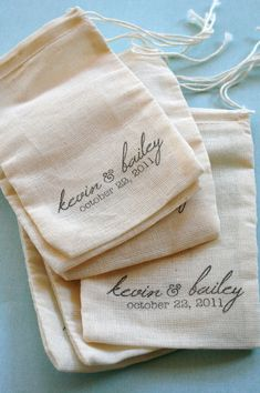 Custom Wedding Favors - Personalized Muslin Bag Set - 100 Imprinted Small 3 x 5 Inch - Names and Date
