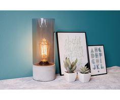 Leitmotiv - Table lamp Lax cement base, grey glass H. 32cm, D. 12cm, Incl. E27 Edisson bulb, Max. 40W