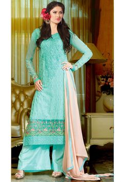 This teal color #semi-stitched georgette #salwar suit is gorgeously decorated with fancy #zari, #resham #embroidery with 3#tonework and lace border work that gives a classy look to the attire.