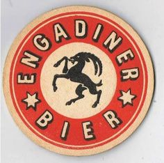 Vintage beercoaster ''Engadiner Bier'' Drink Labels, Beer Labels, Sous Bock, Beer Coasters, Handmade Signs, Logo Design, Graphic Design, Wine And Beer, Best Beer