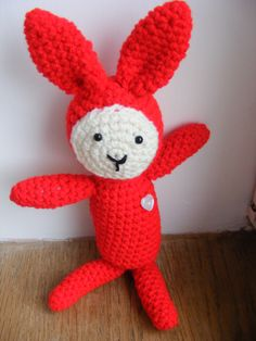 A primitive folk art Red Rabbit named Robin