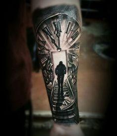 Imagini pentru stairs to clock tattoo